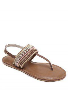 Belt Buckle Beading Flat Heel Sandals - Deep Brown 38