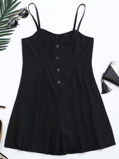 Cami Lined Half Buttoned Romper - Black 2xl