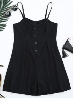 Cami Lined Half Buttoned Romper - Black M
