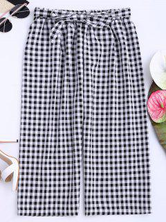 Gingham Wide Leg Culotte Gaucho Pants - Black S