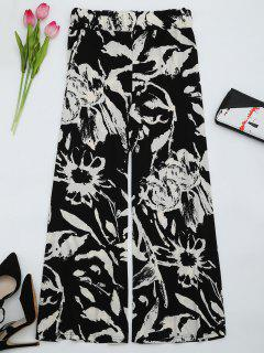 High Waist Printed Wide Leg Pants - Black M