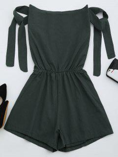 Off The Shoulder Self Tie Sleeve Romper - Deep Gray S