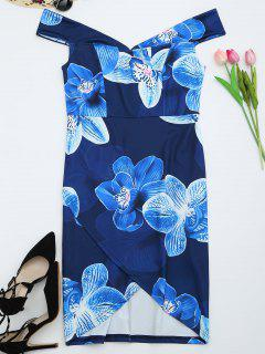 Off The Shoulder Floral Print Prom Dress - Deep Blue Xl