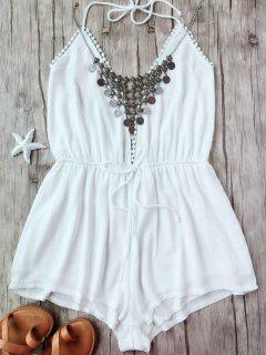 Plunge Halter Beach Cover Up Romper - White L