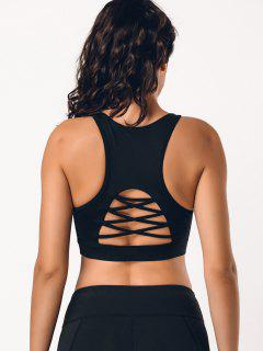 Back Strappy Cutout Mesh Panel Sporty Bra - Black M