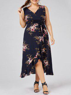 Plus Size Tiny Floral Overlap Flounced Flowy Beach Dress - Purplish Blue 5xl