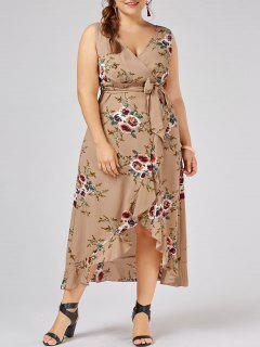 Plus Size Tiny Floral Overlap Flounced Flowy Beach Dress - Apricot 5xl
