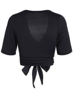 Cropped Plunging Neck Sporty Wrap Top - Black L