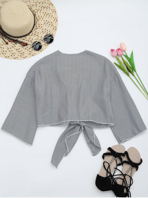 women Self Tie Cropped Striped Blouse - BLACK STRIPE S Mobile