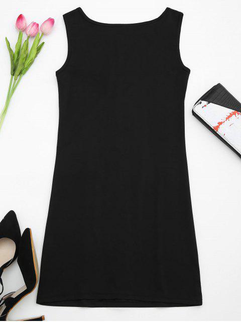 outfits U Neck Lace Up Bodycon Dress - BLACK S Mobile