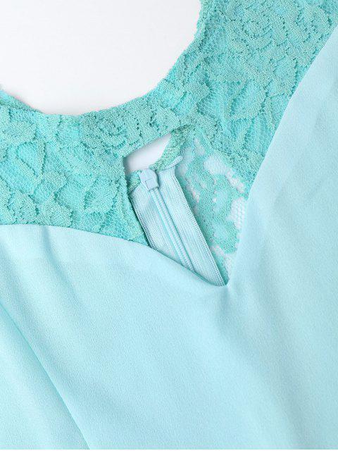 Combishorts ajouré insérée dentelle sans manche - Turquoise XL Mobile