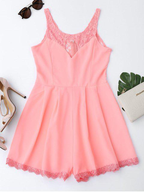online Sleeveless Cutout Lace Insert Romper - FLUORESCENT PINK S Mobile