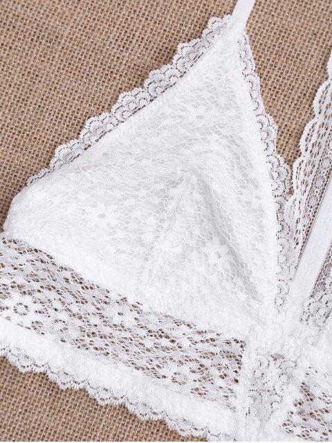 fancy Lace T Back LongLine Bralette - WHITE XL Mobile