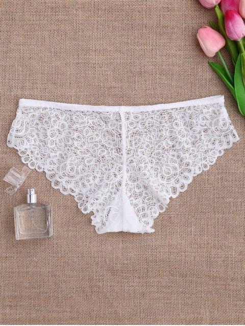best Mid Waist Sheer Full Lace Panties - WHITE M Mobile