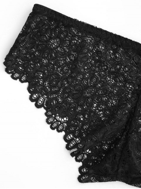 hot Mid Waist Sheer Full Lace Panties - BLACK M Mobile