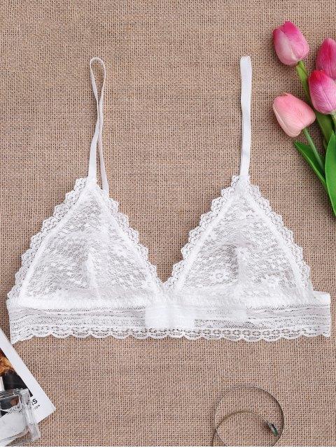 fancy Soft Sheer Full Lace Bralette - WHITE M Mobile