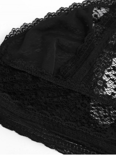 women's Full Lace Cut Out Bralette Bra - BLACK S Mobile