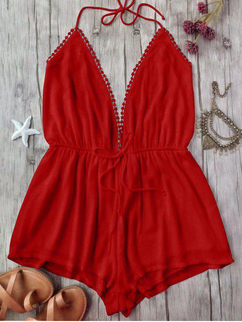shop Plunge Halter Beach Cover Up Romper - RED L Mobile