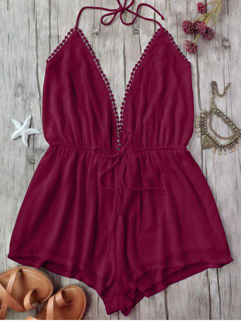 chic Plunge Halter Beach Cover Up Romper - BURGUNDY S Mobile