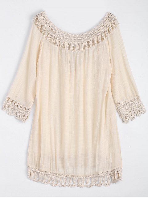 affordable Relaxed Fit Beach Tunic Cover Up Dress - APRICOT ONE SIZE Mobile