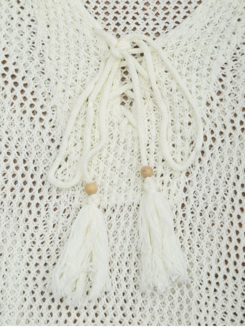 buy Side Split Open Knit Beach Cover Up Dress - OFF-WHITE ONE SIZE Mobile
