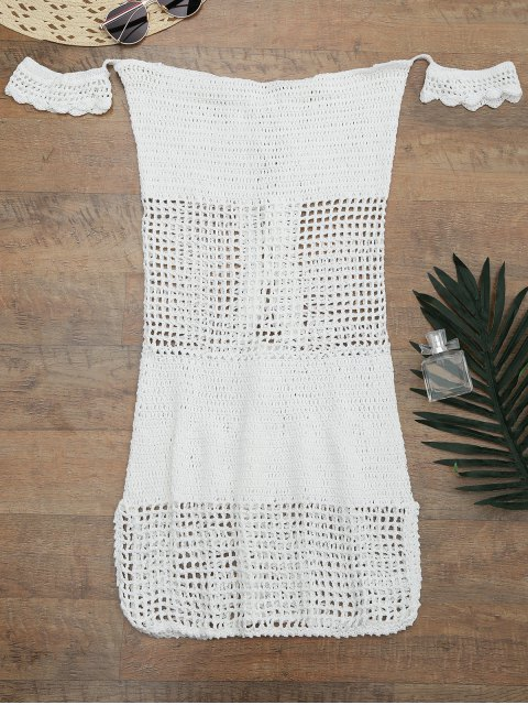 womens Open Knit Off Shoulder Cover Up Dress - WHITE ONE SIZE Mobile