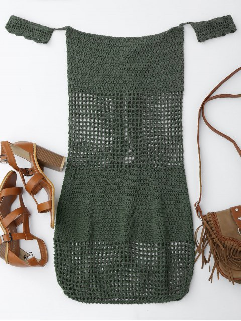 women Open Knit Off Shoulder Cover Up Dress - BLACKISH GREEN ONE SIZE Mobile