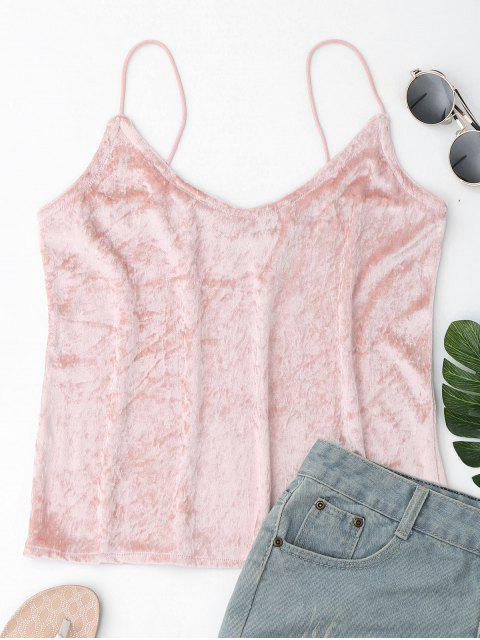 women's Crushed Velvet Camisole Top Cover Up - PINK L Mobile