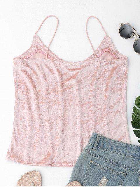 lady Crushed Velvet Camisole Top Cover Up - PINK S Mobile