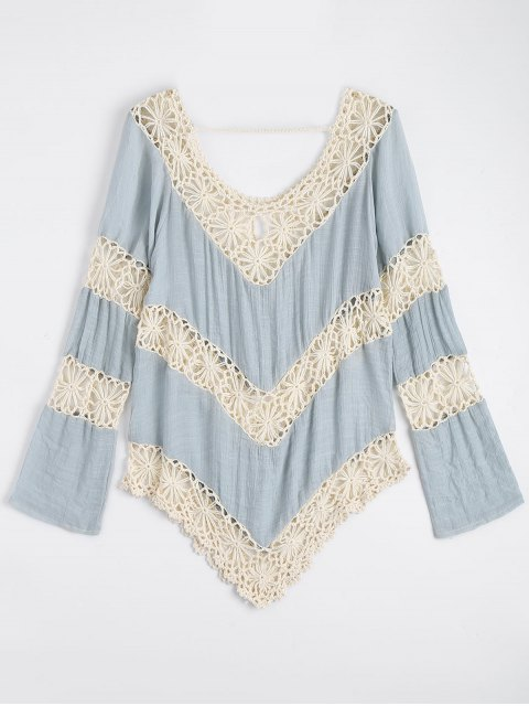 Chevron Crochet Panel Beach Cover Up Tapa - Azul Claro Única Talla Mobile