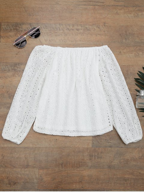 outfit Off The Shoulder Embroidered Cover Up Top - WHITE L Mobile