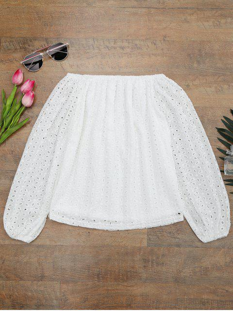 shop Off The Shoulder Embroidered Cover Up Top - WHITE S Mobile
