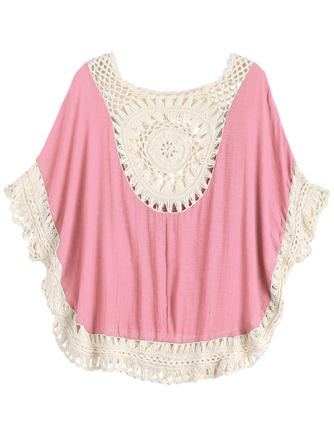 trendy Crochet Insert Beach Poncho Cover Up - PINK ONE SIZE Mobile