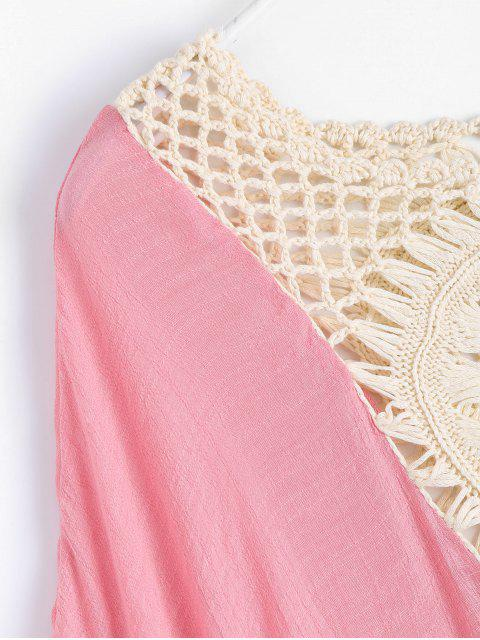 Crochet Insert Poncho de plage Cover Up - ROSE PÂLE TAILLE MOYENNE Mobile
