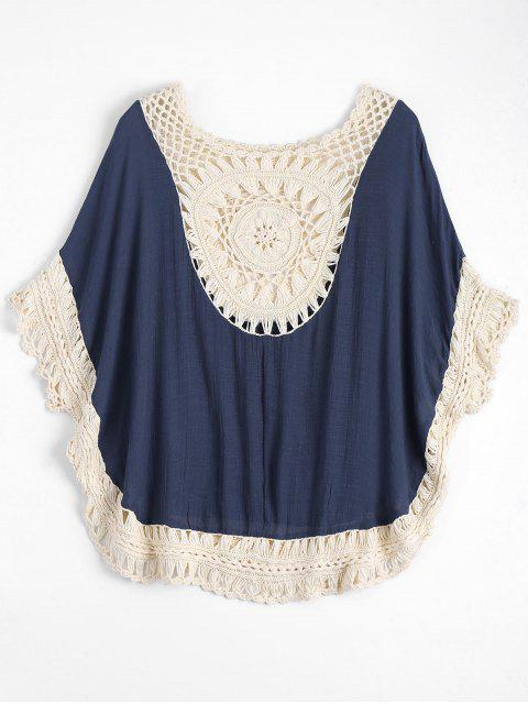 fashion Crochet Insert Beach Poncho Cover Up - BLUE ONE SIZE Mobile