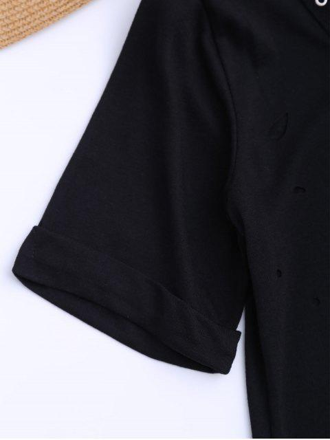 fancy Distressed Lace Up Long T-shirt - BLACK L Mobile