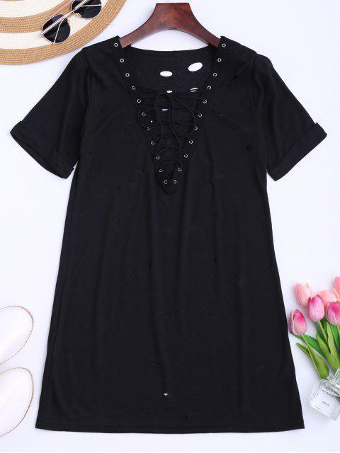 T-shirt long à lacet élimé - Noir S Mobile