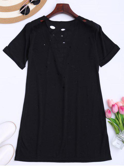 sale Distressed Lace Up Long T-shirt - BLACK S Mobile