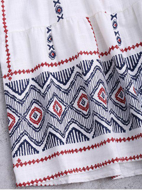 best Printed Cotton Smcok Top - WHITE ONE SIZE Mobile