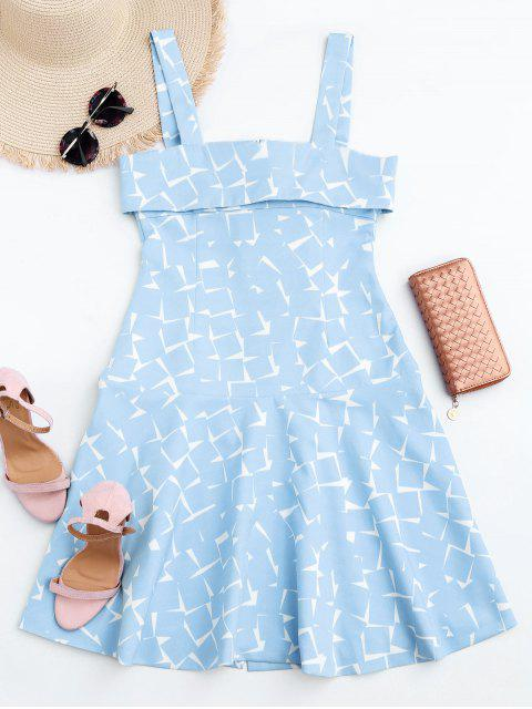 hot Bottun Up Geometric A-Line Dress - LIGHT BLUE XL Mobile