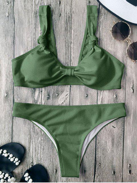 buy Ribbed Knotted Bowknot Bathing Suit - LIGHT GREEN L Mobile