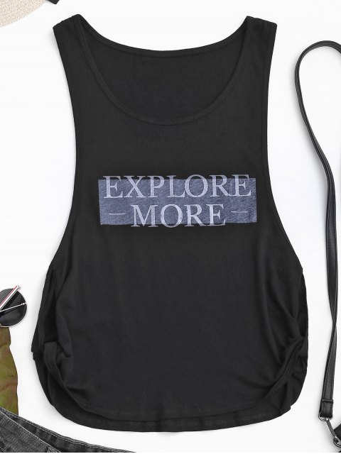 lady Dropped Armhole Explore More Sporty Top - BLACK M Mobile