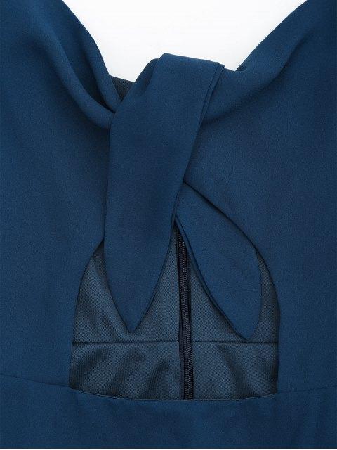 shops Cut Out Bowknot Slip Dressress - CADETBLUE XL Mobile