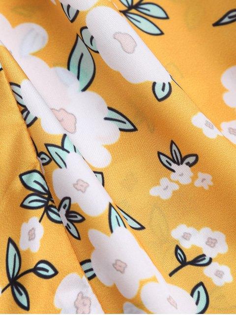 Combishorts cami découpés florals embelli nud de papillon - Jaune M Mobile