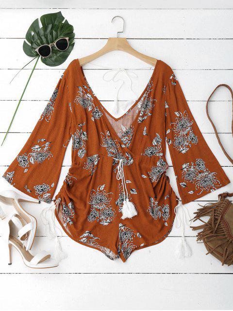 shop Gathered Belted Floral Surplice Romper - FLORAL XL Mobile