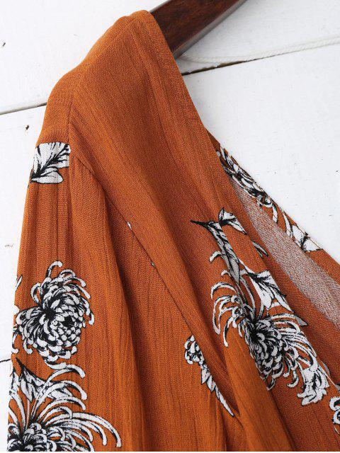 trendy Gathered Belted Floral Surplice Romper - FLORAL S Mobile