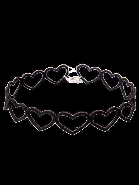 chic Heart Vintage Choker Necklace - BLACK  Mobile