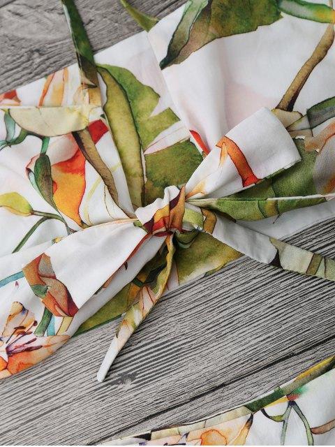 Ensemble de couture et de shorts floraux nœud - Blanc L Mobile