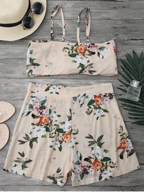 Ensemble couvert de shorts et taille haute taille nouée - Floral S Mobile