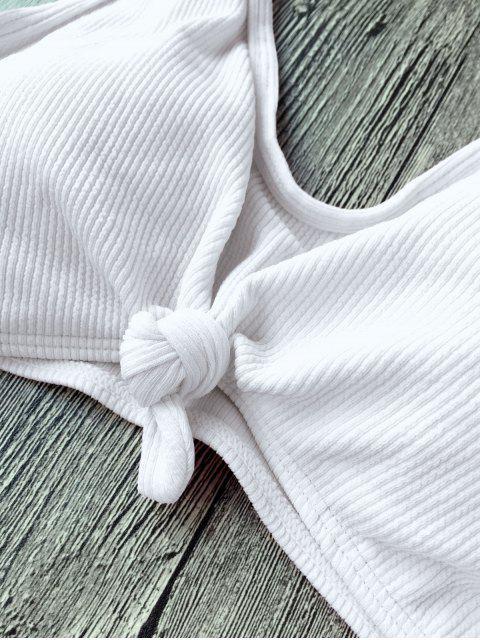 fancy Ribbed Knotted String Bralette Bikini - WHITE S Mobile